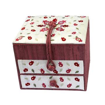 Picture of קופסא תכשיטים רקומה -2 מגירות - רימונים - BE-1 | יאיר עמנואל