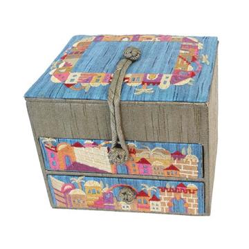 Picture of קופסא תכשיטים רקומה - 2 מגירות - ירושלים זהב - BE-3G | יאיר עמנואל