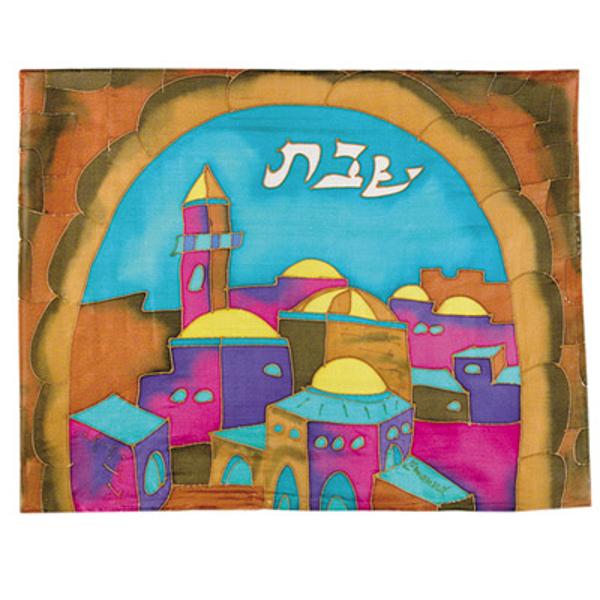 תמונה של כיסוי חלה - ציור על משי - שער צבעוני - CSE-8 | יאיר עמנואל