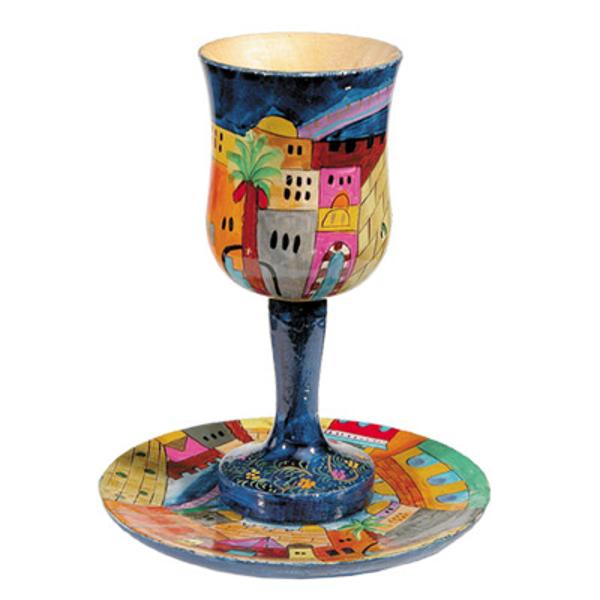 Picture of גביע קידוש + תחתית - ציור יד על עץ - ירושלים - CU-1   יאיר עמנואל