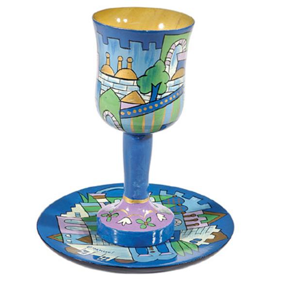 תמונה של גביע קידוש + תחתית - ציור יד על עץ - ירושלים כחול - CU-10 | יאיר עמנואל