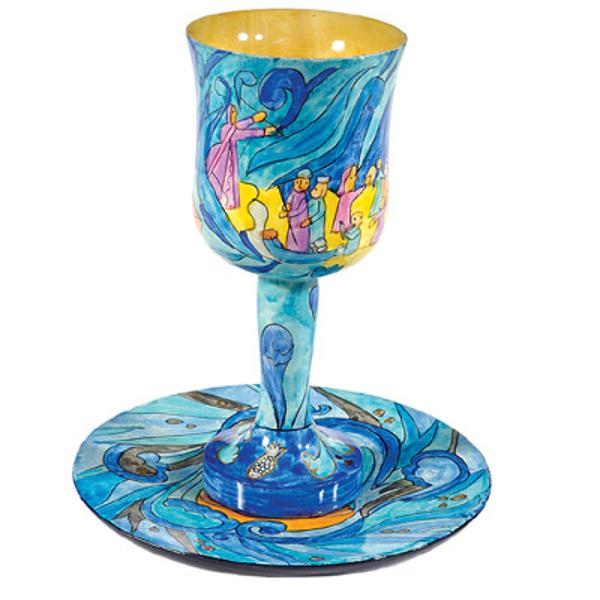 תמונה של גביע קידוש + תחתית - ציור יד על עץ - יציאת מצרים - CU-12 | יאיר עמנואל