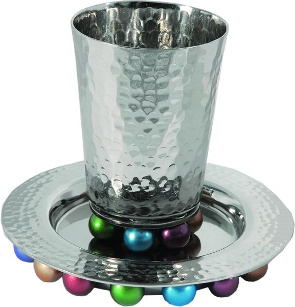 תמונה של כוס קידוש + כדורים ניקל - צבעוני - CUA-2 | יאיר עמנואל