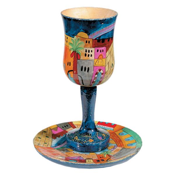 תמונה של גביע קידוש גדולה + צלחת - ציור יד על עץ - ירושלים - CUL-1   יאיר עמנואל