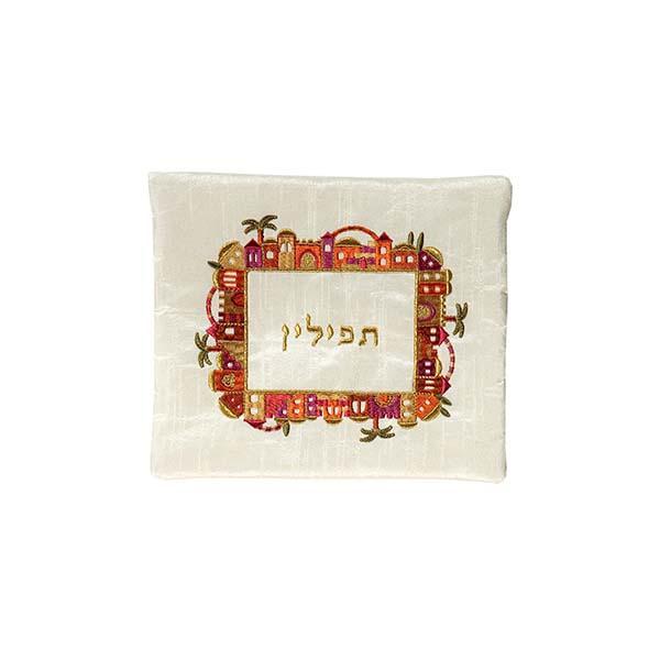 תמונה של תיק תפילין - רקמת מכונה - ירושלים - צבעוני על לבן - FA-1 | יאיר עמנואל