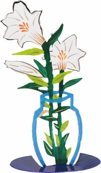 Picture of פרח חיתוך לייזר + ציור יד - לבן - FLM-3 | יאיר עמנואל