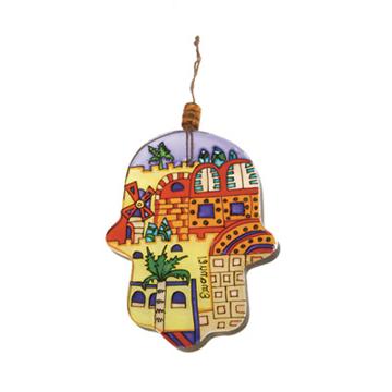 Picture of חמסה זכוכית קטנה מצוירת - ירושלים מודרני - HGS-6 | יאיר עמנואל