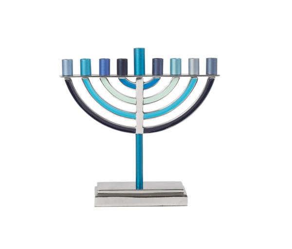 תמונה של חנוכיה קלאסית קטנה - כחול - HO-2 | יאיר עמנואל