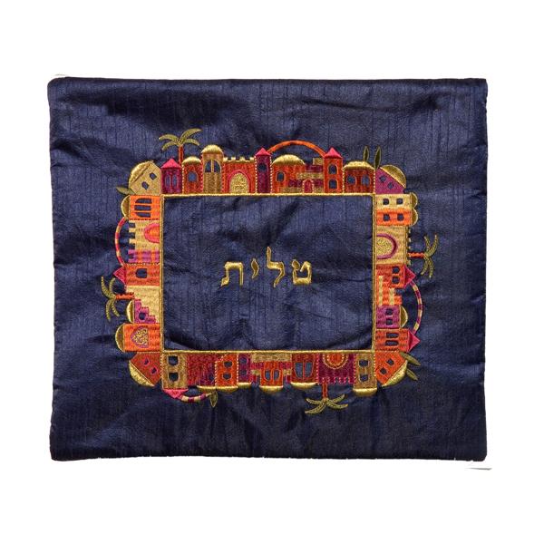 תמונה של תיק טלית - רקמת מכונה - ירושלים - צבעוני על כחול - TA-2 | יאיר עמנואל