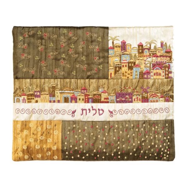 Picture of תיק טלית - פאצ`ים + רקמה - ירושלים חום - TE-1G | יאיר עמנואל