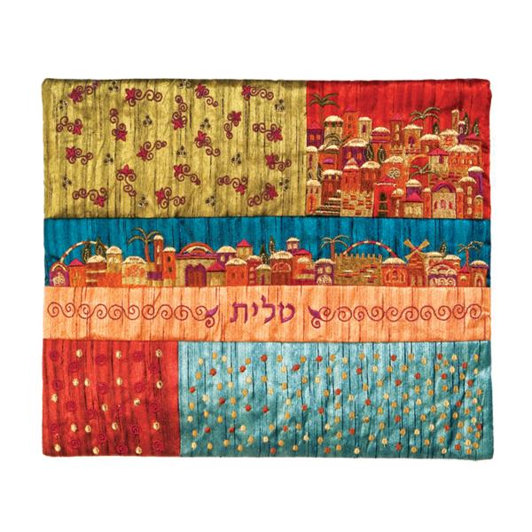 תמונה של תיק טלית - פאצ`ים + רקמה - ירושלים צבעוני - TE-1M | יאיר עמנואל