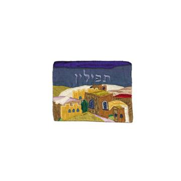 Picture of תיק תפילין - אפליקציה משי פראי - ירושלים - צבעוני - TF-3 | יאיר עמנואל